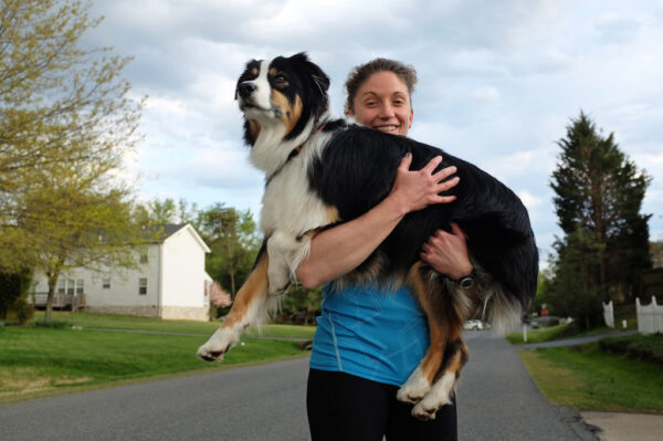 Maria Schultz with her dog Kona