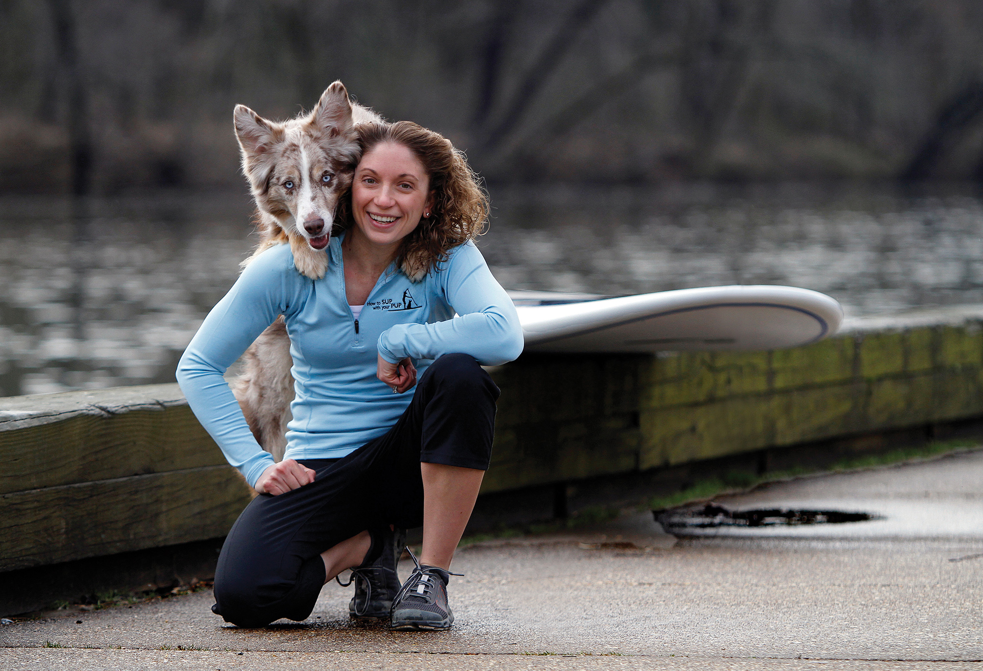 Maria with her dog Riley.